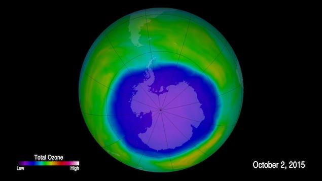 La couche d'ozone au-dessus de l'Antarctique en 2015