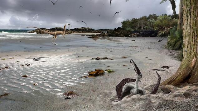 Illustration de ptérosaures sur une plage du crétacé.
