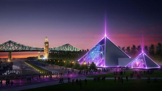 Image promotionnelle de la future pyramide PY1, sur le quai de l'Horloge, à Montréal, fournie par Lune Rouge.
