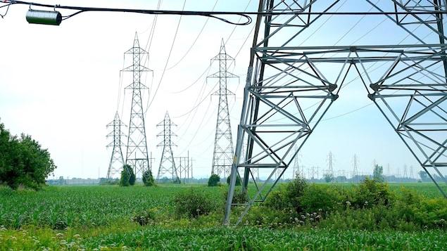 Des pylônes électriques en Montérégie.