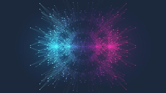 Concept de l'informatique quantique. Des particulies de lumière.