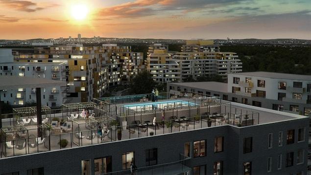 Maquette d'une terrasse sur le toit d'un des immeubles du Quartier Mosaïque.