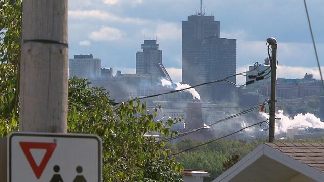Le centre-ville de Québec vu du quartier Maizerets.