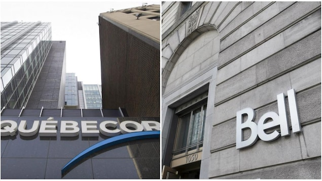 Montage photo du siège social de Québecor à Montréal, à gauche, et des bureaux de Bell à Montréal.