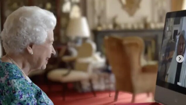 The Queen speaks with governor general-designate Mary Simon on July, 23, 2021.