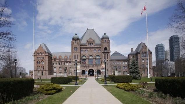 Le bâtiment de la législature à Queen's Park, à Toronto en Ontario.