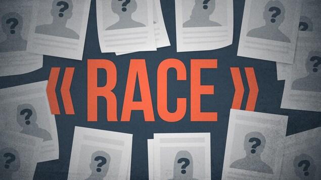 Infographie avec le terme race entouré d'avis de recherche fictifs.