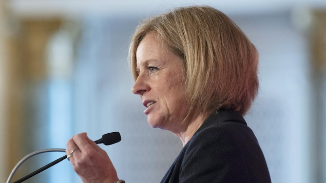 La première ministre de l'Alberta, Rachel Notley, est debout devant un micro et lève la main gauche lors d'un discours à Ottawa.