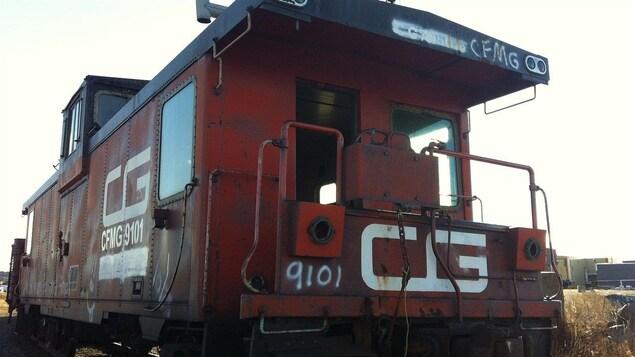 Wagon de queue du train du CN au port de Matane