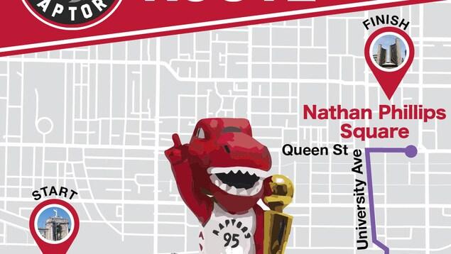 Photo d'une carte avec un autobus rouge avec la mascotte des Raptors