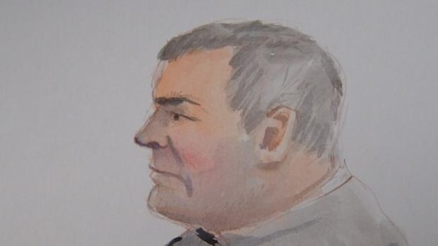 Une illustration de Raymond Cormier de profil qui regarde au loin.