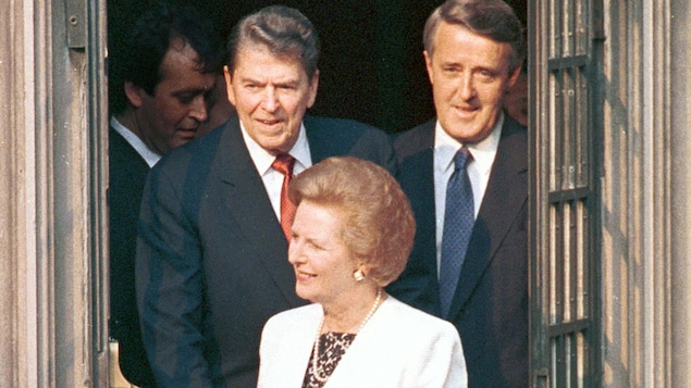 Ronald Reagan, Margaret Thatcher et Brian Mulroney, lors du Sommet du G7 en 1988.