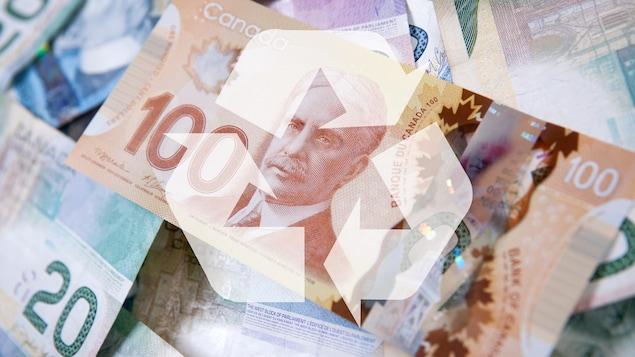 Billets de banque avec un logo de recyclage