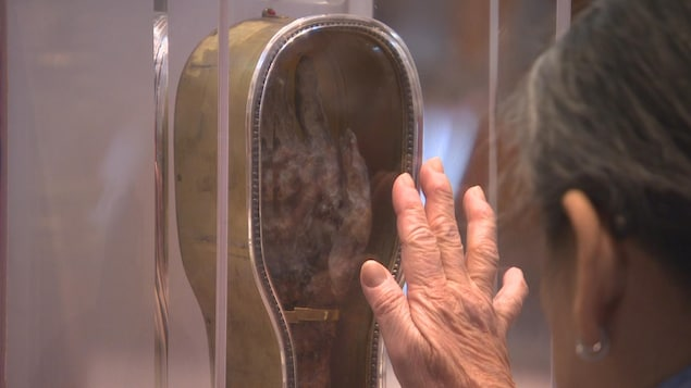 Une femme touche une vitrine contenant une main et avant-bras momifiés