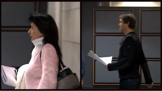Renée Toupin qui marche et et Kevin Parent avec une feuille dans les mains au palais de justice.