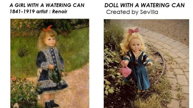 Une poupée tient un arrosoir dans sa main près d'un passage pavé.