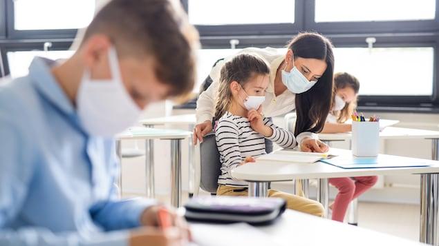 Un groupe de jeunes élèves et leur institutrice portent un masque de protection dans une classe d'école.