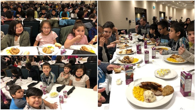 Montage de photos d'enfants qui partagent un repas de Noël avec des camarades.