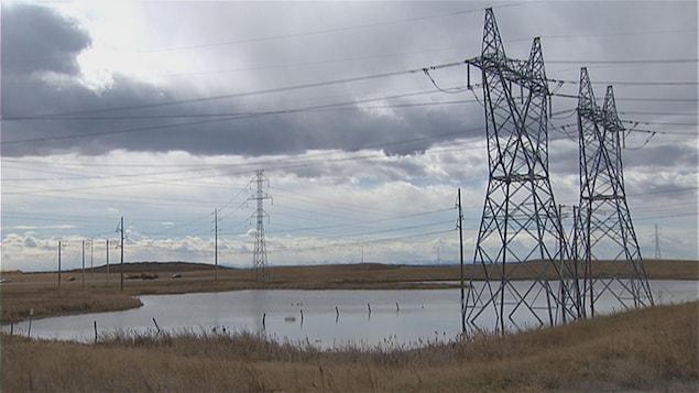 Vue sur des lignes électriques et des pylones.
