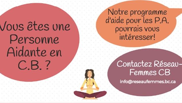 L'affiche de Réseau-Femmes Colombie-Britannique sur laquelle on voit le dessin d'une femme en train de méditer et un appel pour trouver des personnes aidantes dans la province.