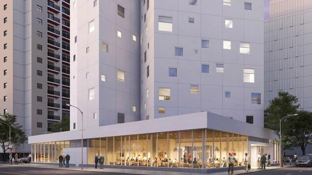 Maquette d'un bâtiment blanc de 14 étages avec un espace commercial au rez-de-chaussée.