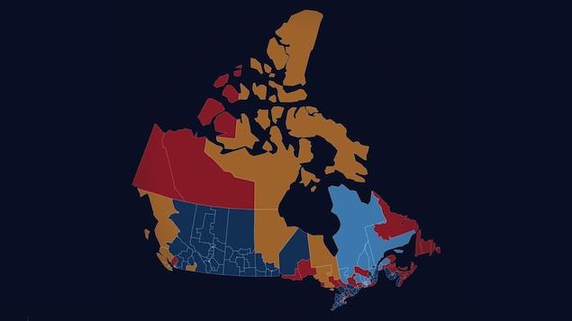 Une carte montrant les résultats de l'élection