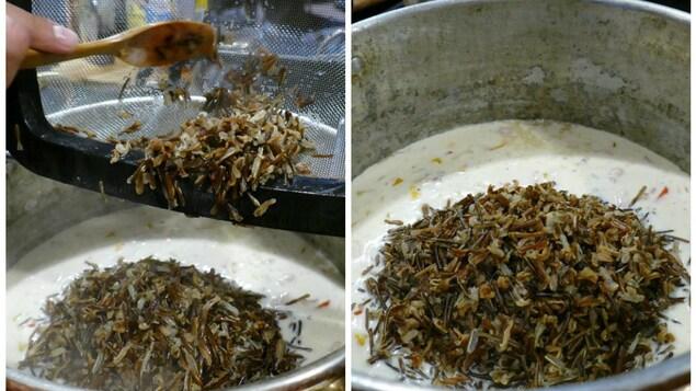 Incorporer le riz cuit dans la soupe aux champignons.