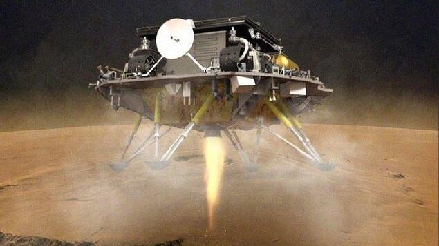 Une maquette du robot qui se pose sur le sol.