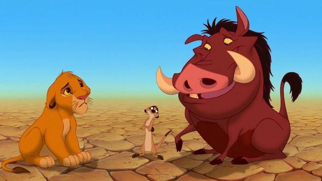 Simba, Timon et Pumba dans « Le roi lion »