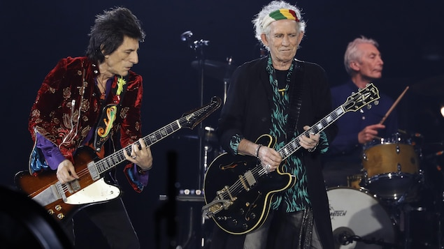 Ron Wood, Keith Richards et Charlie Watts des Rolling Stones au U Arena de Nanterre, à Paris, le 19 octobre 2017