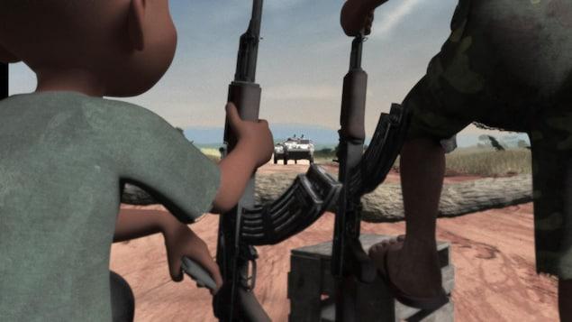 Vidéo d'animation où un enfant tient un fusil d'assaut.