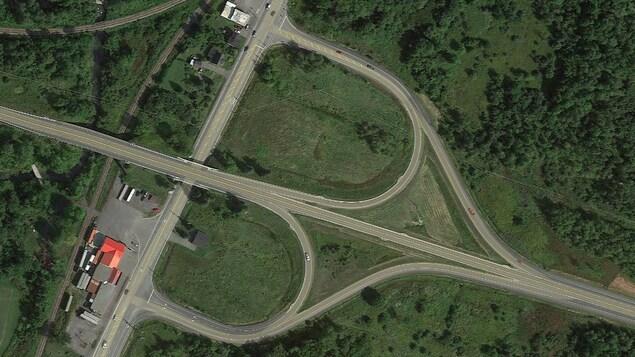 Une carte de l'intersection des routes 34 et 17 dans l'Est ontarien.