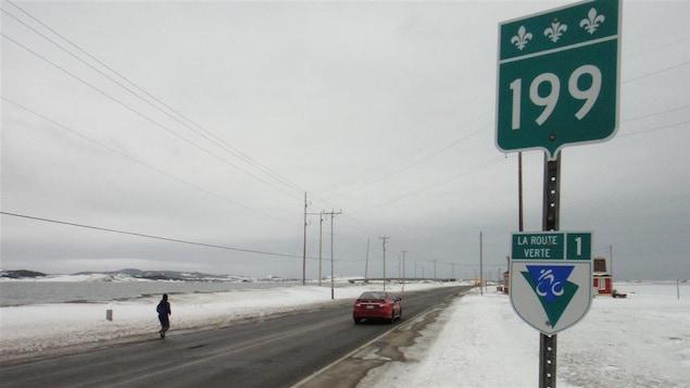 La route 199, l'hiver aux Îles-de-la-Madeleine