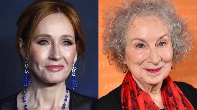J.K. Rowling porte des bijoux bleus et Margaret Atwood porte un foulard rouge.