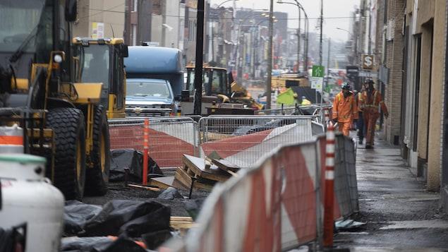 La rue Saint-Hubert en chantier.
