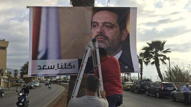 Des travailleurs posent une affiche sur un arbre.