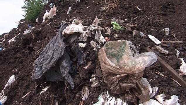 Des sacs de plastique mêlés au matériel compostable