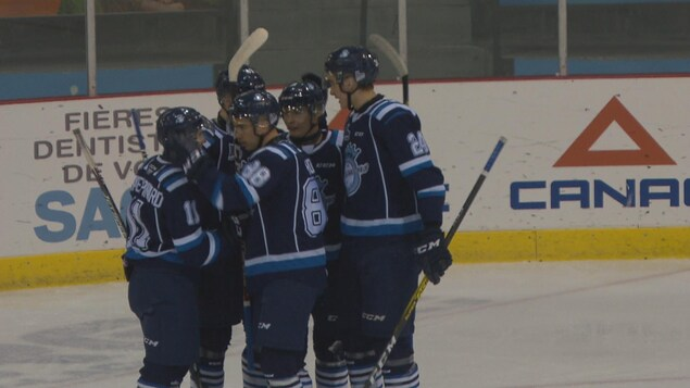 Un groupe de joueurs de hockey se félicitent sur une patinoire.