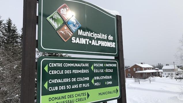 Panneau d'affichage des lieux, services et organismes de la municipalité de Saint-Alphonse