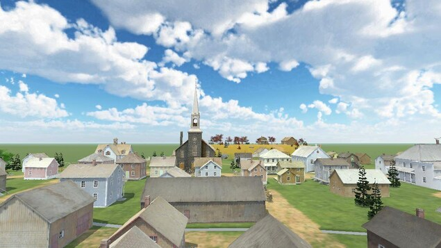 Une image virtuelle du village de Sainte-Blandine ou on voit le ciel, le gazon, des maisons et l'église.