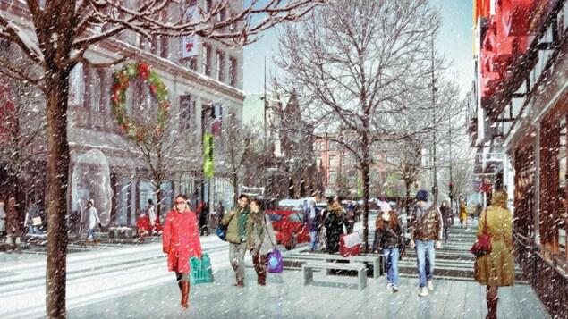 Image créée par ordinateur de la rue Sainte-Catherine qui montre le trottoir sans neige par une journée neigeuse.