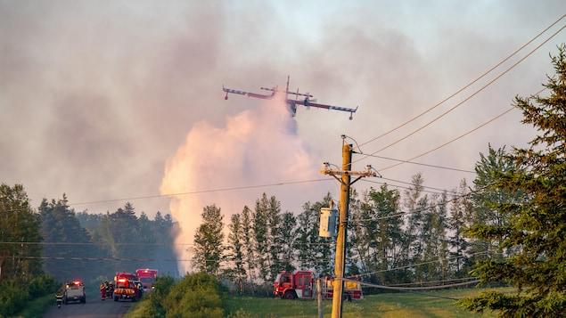Un avion-citerne arrose la forêt tout près des pompiers et d'une route.