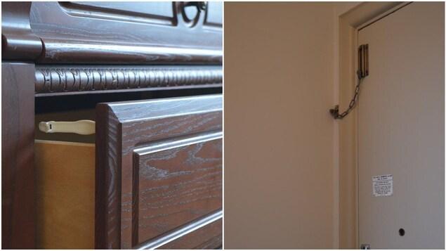 Un tiroir muni d'un crochet et une chaîne de sécurité vissée en haut d'une porte