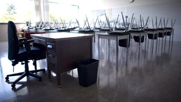 Une salle de classe vide