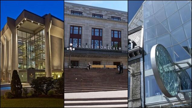 Trois images différentes de l'extérieur du Grand Théâtre, du Palais Montcalm et du Diamant