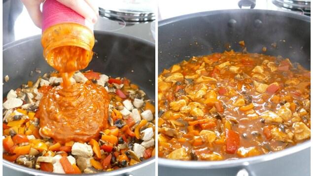 Sauce pour poulet au beurre.
