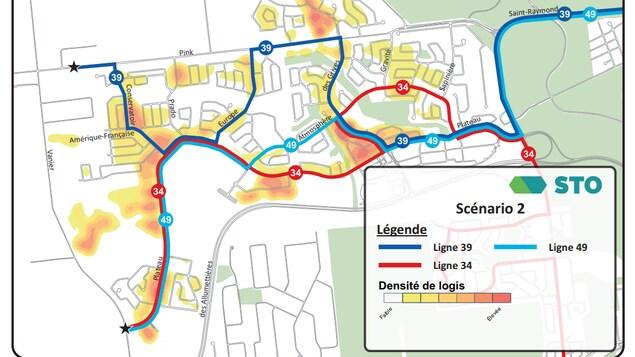 Une carte des lignes 34, 39 et 49 montre les nouveaux tracés dans le secteur du Plateau. Notamment, la ligne 49 emprunte le boulevard de l'Atmosphère.