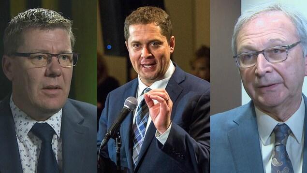 Scott Moe, Andrew Scheer et Blaine Higgs dans un montage photo, les trois un à côté de l'autre, mais dans des lieux différents.