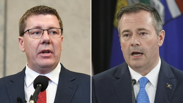 Le premier ministre de la Saskatchewan, Scott Moe, et le premier ministre de l'Alberta, Jason Kenney.