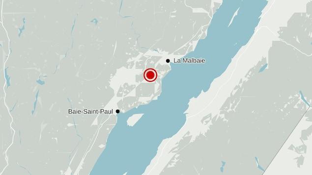 Carte localisant le lieu approximatif du séisme.